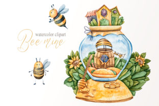 Print on Demand: Watercolor Cute Honey Bee Png Files. Graphic Illustrations By Tiana Geo