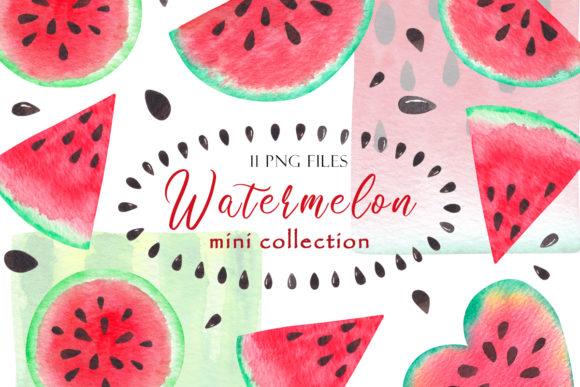 Print on Demand: Watercolor Watermelon Slices Graphic Illustrations By TanyaPrintDesign