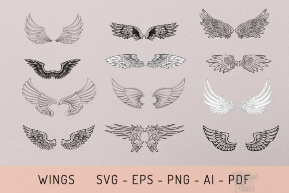 Wings Svg - Eps - Png - Ai - Pdf Graphic Objects By EfficientTools
