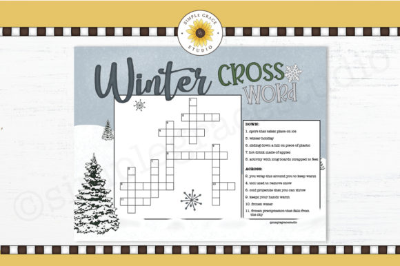 Winter Crossword Puzzle Graphic Teaching Materials By Simple Grace Studio
