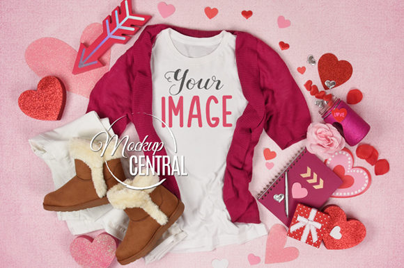 Woman's T-Shirt Valentine's Day Mockup Graphic Product Mockups By Mockup Central