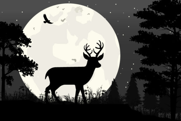 Print on Demand: Deer and Moon Silhouette Graphic Illustrations By curutdesign