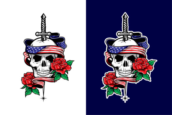 Illustration of a Skull with Flag Roses Graphic Illustrations By Unflea Studio
