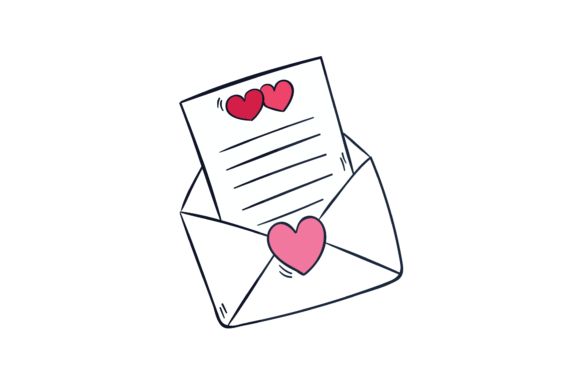 Print on Demand: Valentine Love Heart Envelope Letter Graphic Illustrations By Genta Illustration Studio