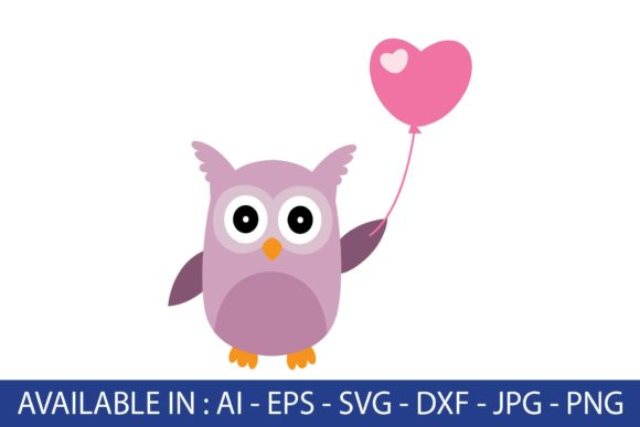Valentine, Owl with Love Baloon Graphic Illustrations By Fauzia Studio