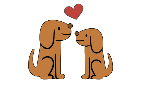 Print on Demand: Valentines Kissing Animal Dog Gráfico Ilustraciones Por Genta Illustration Studio