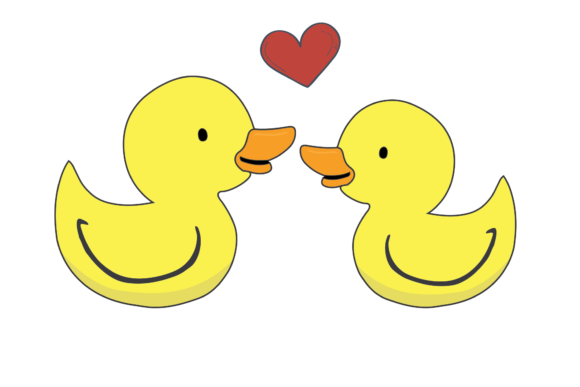 Print on Demand: Valentines Kissing Animal Duck Graphic Illustrations By Genta Illustration Studio