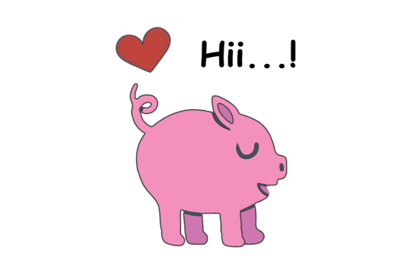 Print on Demand: Valentines Kissing Animal Oink Pig Graphic Illustrations By Genta Illustration Studio