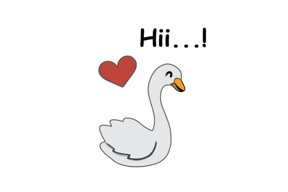 Print on Demand: Valentines Kissing Animal Swan Graphic Illustrations By Genta Illustration Studio