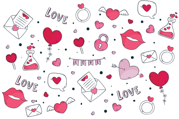Print on Demand: Valentines Love Heart Background Graphic Illustrations By Genta Illustration Studio