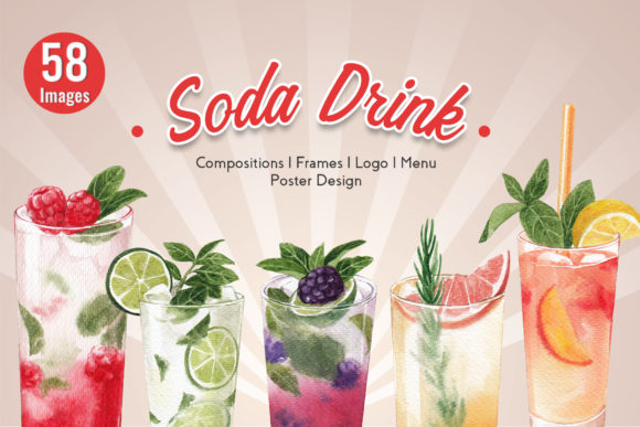 30 Mixed Fruit Soda Drink Watercolor Graphic Illustrations By WatercolorEps