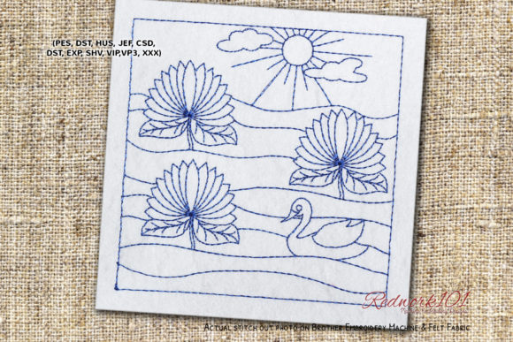 Beautiful Lake with Lotus Flowers Spring Spring Embroidery Design By Redwork101