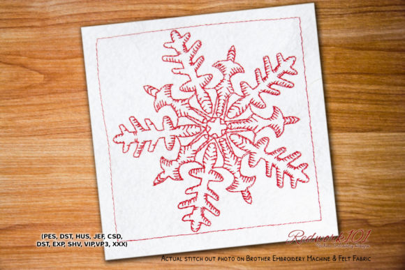 Beautiful Snowflake Lineart Winter Embroidery Design By Redwork101