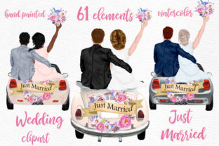 Print on Demand: Bride and Groom Clipart Wedding Car Graphic Illustrations By LeCoqDesign