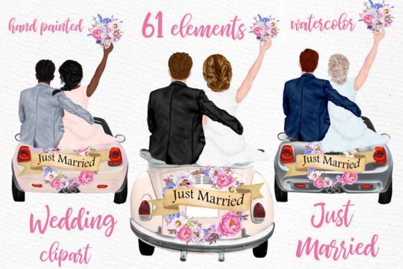 Bride and Groom Clipart Wedding Car Graphic Illustrations By LeCoqDesign
