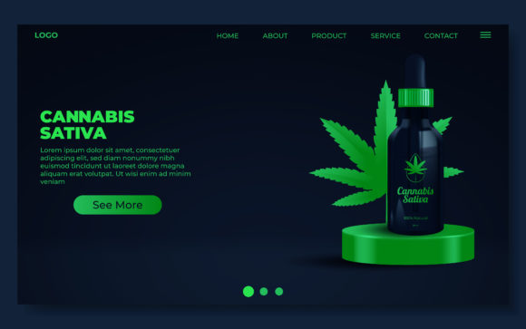 CBD Oil Website Page Template Graphic Illustrations By rorozoagraphic