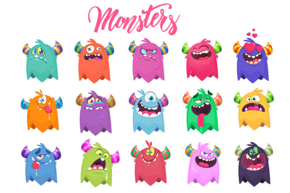 Cartoon 15 Monsters Set Graphic Illustrations By drawkman