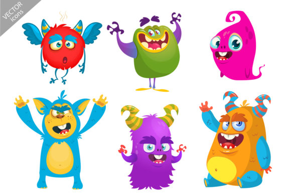 Cartoon Monsters Set Graphic Illustrations By drawkman