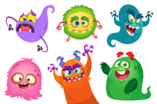 Cartoon Monsters. Vector Set Graphic Illustrations By drawkman