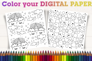 Print on Demand: Color Your Digital Paper. Rainbow Nature Graphic Coloring Pages & Books By artsbynaty