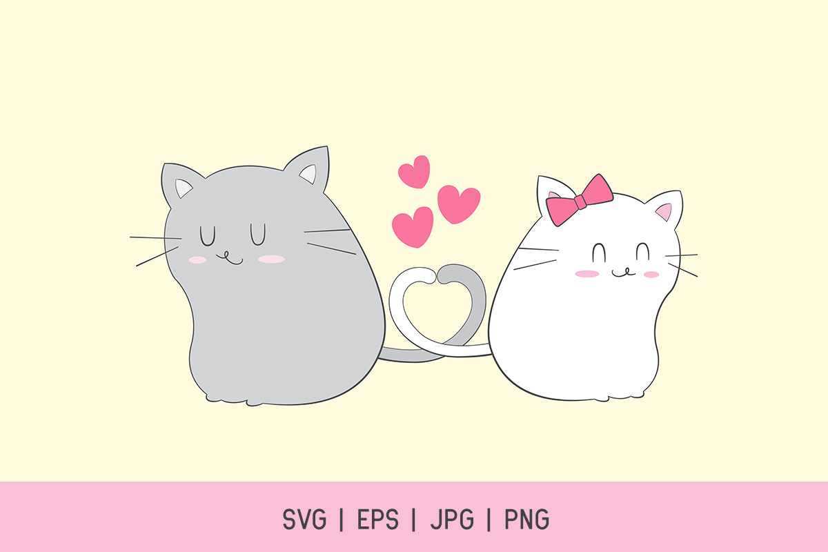 Cute Cat Couple Valentines Day Clipart Graphic By Doridodesign Creative Fabrica