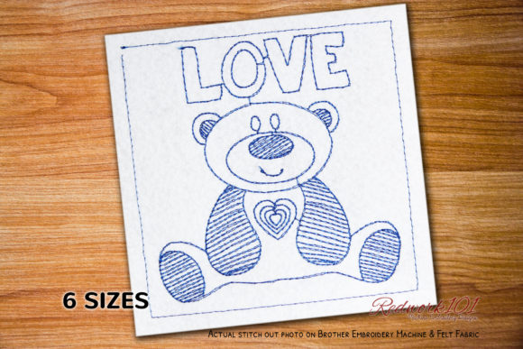 Cute Love Teddy Bear Redwork Valentine's Day Embroidery Design By Redwork101