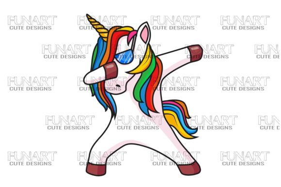 Dabbing Unicorn 1 , Digital Design , PNG Graphic Illustrations By Fundesings