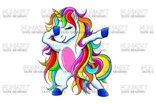 Dabbing Unicorn 2 , Digital Design , PNG Graphic Illustrations By Fundesings