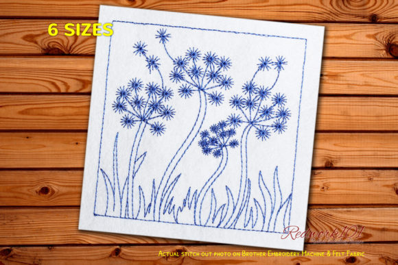 Dandelion Dispersing Nature Redwork Frühling Stickdesign von Redwork101