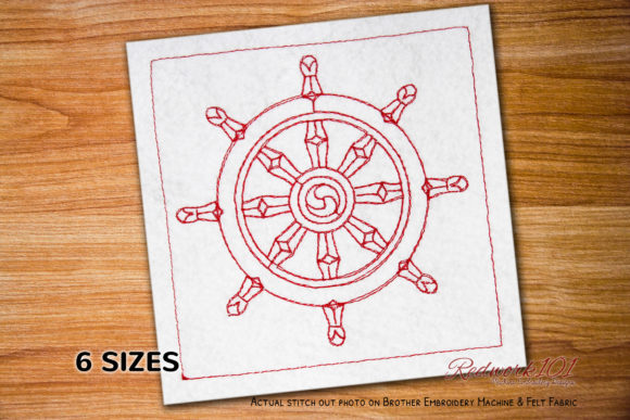 Dharma Wheel Lineart Design Religion & Faith Embroidery Design By Redwork101
