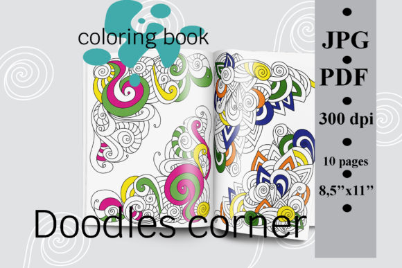 Doodles Corner Coloring Book, Antistress Graphic Coloring Pages & Books Adults By SunnyColoring