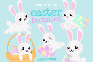 Print on Demand: Easter Bunnies Clipart Set Graphic Illustrations By DigitalPapers
