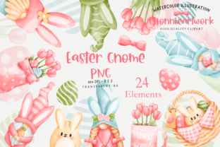 Print on Demand: Easter Day with Gnome Clipart Bundle Graphic Crafts By Chonnieartwork