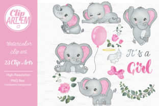 Print on Demand: Elephant Girl Pink Watercolor 23 PNG Graphic Illustrations By clipArtem 1