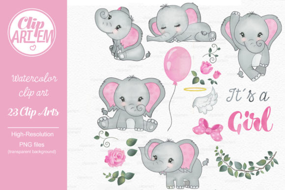 Print on Demand: Elephant Girl Pink Watercolor 23 PNG Graphic Illustrations By clipArtem