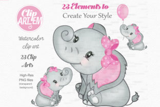 Print on Demand: Elephant Girl Pink Watercolor 23 PNG Graphic Illustrations By clipArtem 2