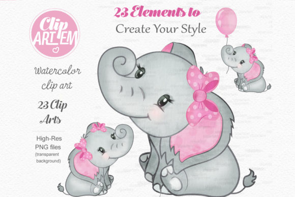 Elephant Girl Pink Watercolor 23 PNG Graphic Download