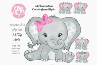 Print on Demand: Elephant Girl Pink Watercolor 23 PNG Graphic Illustrations By clipArtem 3