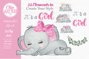 Print on Demand: Elephant Girl Pink Watercolor 23 PNG Graphic Illustrations By clipArtem 4