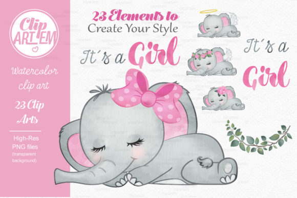 Elephant Girl Pink Watercolor 23 PNG Graphic Design