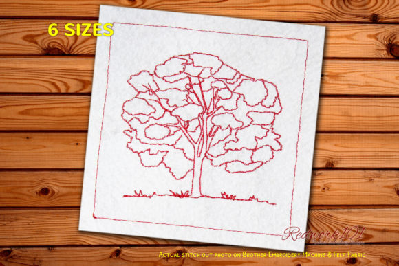 Elm Tree Redwork Forest & Trees Embroidery Design By Redwork101