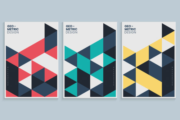 Geometric Cover with Colorful Triangles Graphic Backgrounds By medelwardi