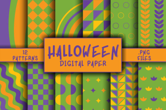 Print on Demand: Halloween Pattern Digital Paper Gráfico Moldes Por atlasart