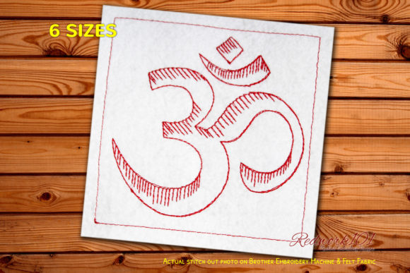 Hinduism Om Machine Religion & Faith Embroidery Design By Redwork101