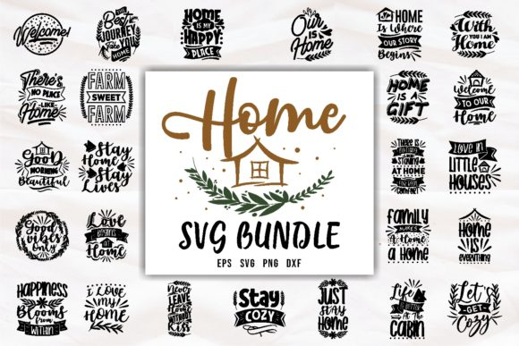 Print on Demand: Home SVG Quotes Bundle Typography Gráfico Plantillas para Impresión Por Universtock