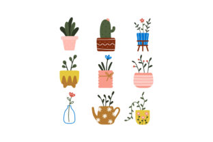 Print on Demand: Home Decor Hygge House Potted Plants Graphic Illustrations By Musbila