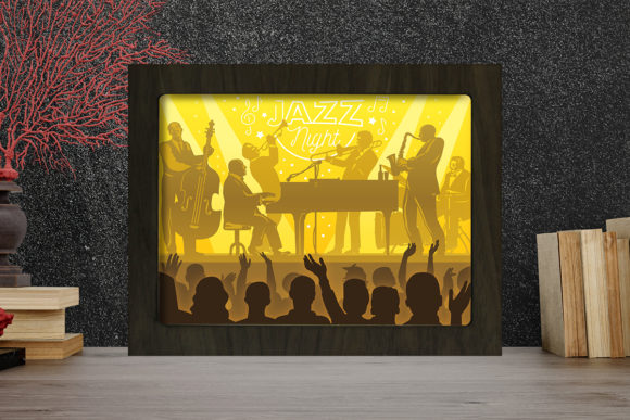 Print on Demand: Jazz Night Light Box Shadow Box Grafik 3D Schattenbox von LightBoxGoodMan