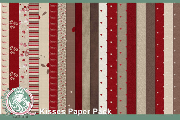 Print on Demand: Kisses Papers | Backgrounds Graphic Backgrounds By QueenBrat Digital Designs