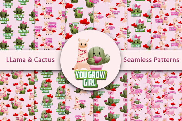 Print on Demand: LLama and Cactus Seamless Patterns Graphic Patterns By Andreea Eremia Design