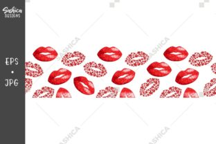 Lips and Weed Leaves Pattern Border Graphic Patterns By sashica designs